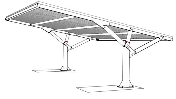 Pensiline per auto con copertura alluminio versione ribassata